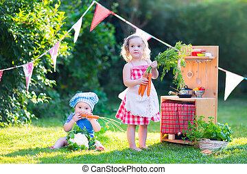 わずかしか, おもちゃ, 庭, 子供, 遊び, 台所