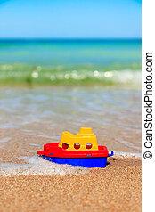 わずかしか, おもちゃ, 浜, 船