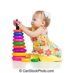 わずかしか, おもちゃ, 色, かわいい少女, 遊び