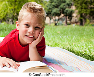 わずかしか, かわいい, 男の子の読書, ピクニック