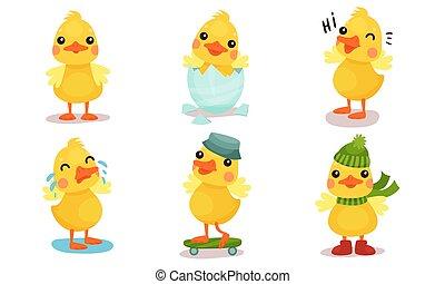 わずかしか, かわいい, duckling., ベクトル, illustration., 黄色, humanized