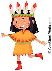 わずかしか, アメリカインディアン, 衣装, 女の子, ネイティブ