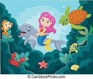 わずかしか, イルカ, 遊び, mermaid, 漫画