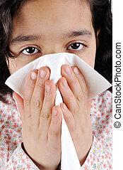 わずかしか, インフルエンザ, 女の子, 病気, 持つこと