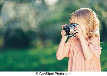 わずかしか, カメラ, レトロ, 女の子