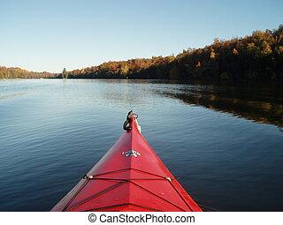 わずかしか, カヤックを漕ぐ, crosby, 湖