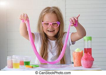 わずかしか, ガラス, 。, 女の子, ピンク, 粘液, 引き