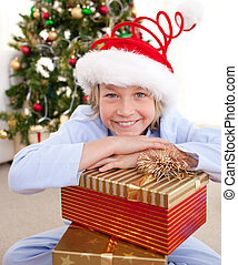 わずかしか, クリスマス, 男の子, プレゼント, 幸せ