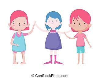 わずかしか, グループ, 漫画, 特徴, 子供, 微笑