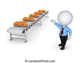 わずかしか, コンベヤー, ポイント, 人, 3d, cars., 小さい