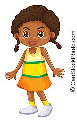 わずかしか, スカート, 女の子, 黄色