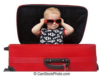 わずかしか, スーツケース, サングラス, 赤, 用心する, 子供
