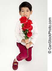 わずかしか, スーツ, 男の子, 型, 赤, アジア人, バラ