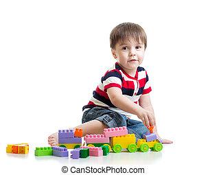 わずかしか, セット, 上に, 建設, 背景, 子供, 白