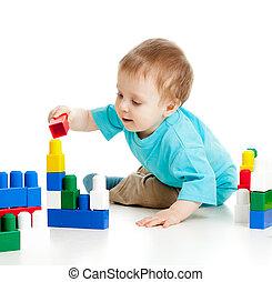わずかしか, セット, 上に, 朗らかである, 建設, 背景, 子供, 白