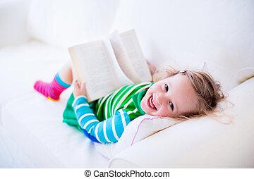 わずかしか, ソファー, 本, 女の子の読書, 白