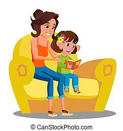 わずかしか, ソファー, 隔離された, イラスト, 読む, 本, vector., 母, 女の子