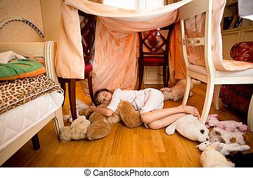 わずかしか, テディベア, 睡眠, 寝室, 女の子