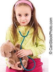 わずかしか, テディ, 医者, 熊, 女の子, 愛らしい, 遊び