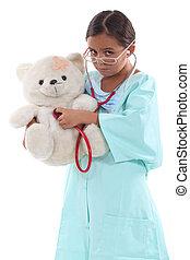 わずかしか, テディ, 服を着せられる, 熊, 保有物, 女の子, 看護婦