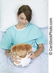 わずかしか, テディ, 病院, 熊, ベッド, 女の子