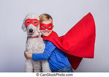 わずかしか, ハンサム, 犬, スーパーマン