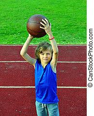 わずかしか, バスケットボール選手, ボール, 準備, 投球