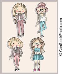 わずかしか, ファッション, 女の子