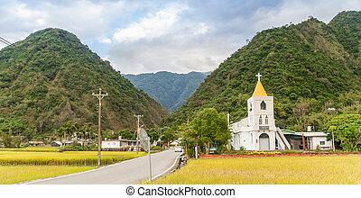 わずかしか, フィールド, 教会, 台湾, 米, 白