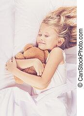 わずかしか, ベッド, 睡眠, 家, 女の子, 美しい
