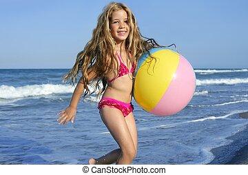 わずかしか, ボール, カラフルである, 休暇, 女の子, 浜, 遊び