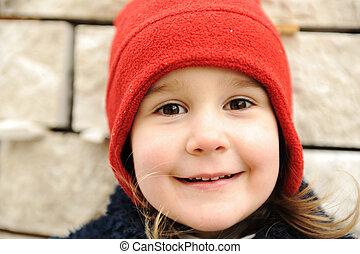 わずかしか, ポジティブ, 顔, 微笑, 愛らしい, 女の子