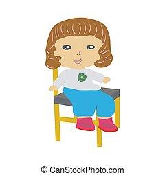 わずかしか, モデル, 隔離された, バックグラウンド。, chair., 女の子, 白