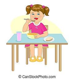 わずかしか, モデル, 食べる, スープ, 間, 女の子, テーブル。