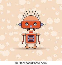 わずかしか, ロボット, イラスト, ベクトル, 緑, eyes., 漫画, 幸せ