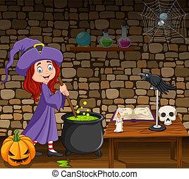わずかしか, 一服, マジック, ハロウィーン魔女, 背景, かき混ぜること