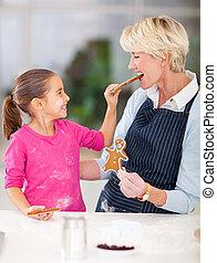 わずかしか, 供給, 彼女, 祖母, クッキー, gingerbread, 女の子