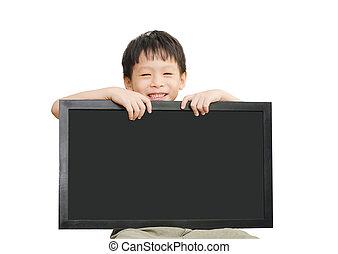 わずかしか, 保有物, 上に, 空, 背景, 男の子, アジア人, 黒板, 白