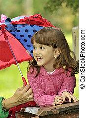 わずかしか, 傘, 女の子