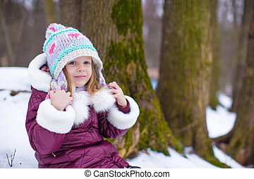 わずかしか, 冬, 日当たりが良い, 雪, 肖像画, 女の子, 日, 幸せ