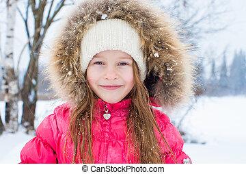 わずかしか, 冬, 雪, 屋外で, 女の子, 愛らしい, 日