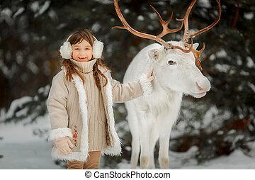 わずかしか, 冬, 鹿, 肖像画, 白, 女の子