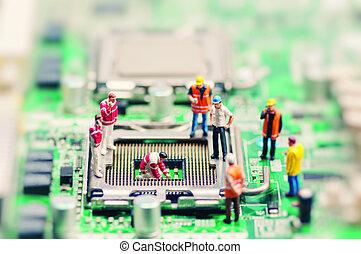 わずかしか, 労働者, 修理, motherboard., 技術, 概念