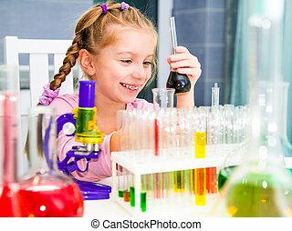 わずかしか, 化学, フラスコ, 女の子