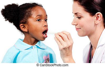 わずかしか, 医者, 女の子, 女性, 体温を計ること