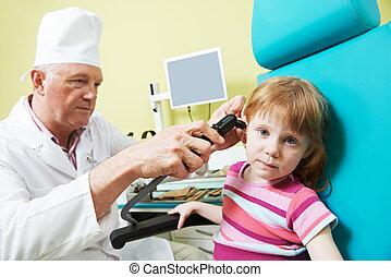 わずかしか, 医者, 鼻, thoat, 女の子, 耳