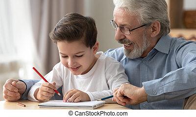 わずかしか, 図画, 祖父, カラードの鉛筆, 孫, 遊び, 微笑