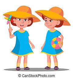 わずかしか, 大きい, 隔離された, イラスト, vector., 微笑, 浜, 女の子, 帽子