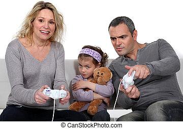 わずかしか, 女, ゲーム, ビデオ, 女の子, 口をとがらす, 遊び, 人