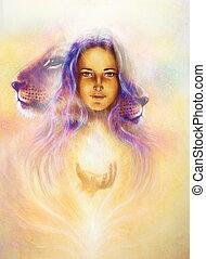 わずかしか, 女, 背景, sourceful, 色, ライト, 抽象的, 女神, 黄色, 紫色, ライオン, spots., 幼獣, 保有物, 型, head., 白, 絵, paper.